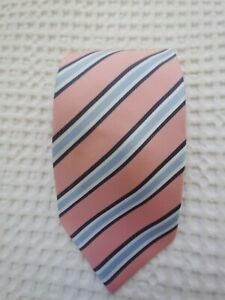 Pink And Blue Striped 100% Silk Tie.