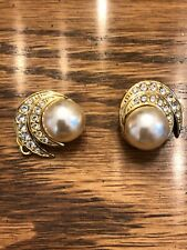Goldtone faux pearl & crystal - Womens clasp earrings -  FREE SHIPPING