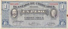 1914 Mexico El Estado de Chihuahua Revolutionary 1 Peso Nt, Series A, PS529f