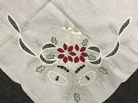 Cotton 72x144'' White Embroidered Red Poinsettia Embroidery Tablecloth 12 Napkin