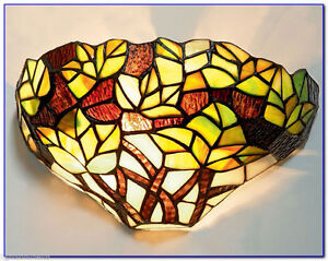 Green Maple Leaf Tiffany Stained glass wall light RM8 WCR24