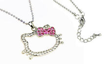 Hello Kitty Crystal Charm Necklace with Pink Ribbon