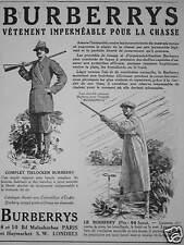 PUBLICITÉ BURBERRYS VÊTEMENT IMPERMÉABLE  POUR LA CHASSE COMPLET TIELOCKEN