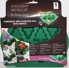 Christmas Chicago Metallic Tree Cakelette 8 Cavity Silicone Pan Cakes Mold NWT