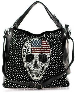 Damen Handtasche Totenkopf Skull Gothic Schultertasche Glitzer Punk Damentasche