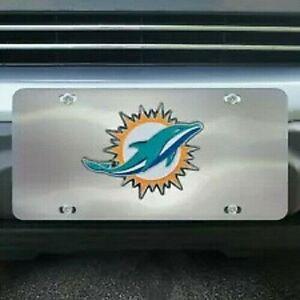 Miami Dolphins Chrome Die Cast License Plate
