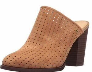 Women's Sam Edelman Bates Slip On Mule Heels Perforated Suede Leather Camel 9.5