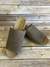 Lucky Brand Wedge Sandals Size 9.5 Womens Brown Tan Peep Toe Slip On Shoes NEW