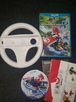 MARIO KART 8 NINTENDO WII U GAME WITH OFFICIAL WII STEERING WHEEL PAL TESTED