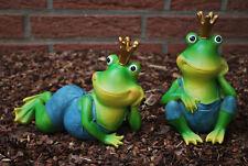 Frosch liegend und sitzend Set mit Krone Froschkönig Dekoration Tierfigur Figur