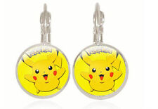 New Pikachu silver Glass cabochon 18mm handmade Earrings Jewelry GC-29