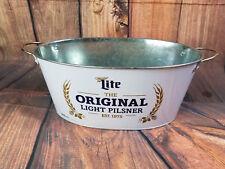 Miller Lite Original Pilsner Beer Can Football Cooler Chest Oval Metal Bucket