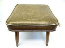 Modern Wooden Legged Crawford MFG Co Vinyl Covered Brown Footstool Ottoman 8292