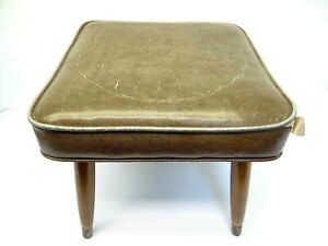 Modern Wooden Legged Crawford MFG Co Vinyl Covered Brown Footstool Ottoman 8292