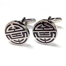 Silver Black Chinese Longevity SHOU Symbol Good Luck CUFFLINKS Present GIFT BOX