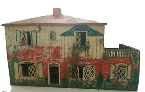 "Tin Dollhouse Litho Large 2 Story T Cohn Vintage Haunted house town 20""x16""x12"""
