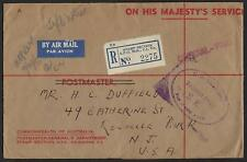 AUSTRALIA 1953 OFFICIAL PAID RED MARKING GPO REGISTERED ON WWII OHMS COVER TO US