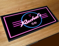 Personalised Cocktail Bar Neon retro Bar runner mat pubs & clubs Home Bar
