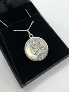 925 STERLING SILVER ANTIQUE FINISH ST CHRISTOPHER NECKLACE PENDANT + CHAIN BOXED