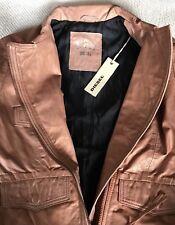 DIESEL Moto L-SAHANA Washed Metallic Leather Crumpled Jacket Size XS/S New