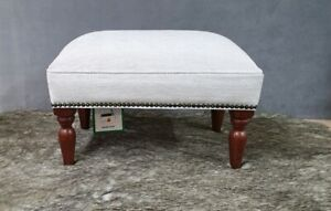 Footstool upholstered in a Laura Ashley Edwin  chenille silver