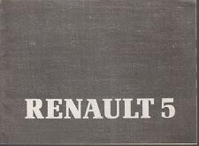 RENAULT 5 GT turbo, 5-Porta & AUTO ORIGINALE 1985 supplemento manuale di istruzioni.