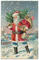 Christmas~Patriotic~Santa Claus~Blue Pants~ w. USA~Flag~Toys~1910~Postcard-s829