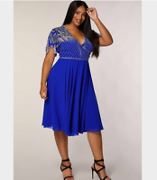 Virgos Lounge Curve Blue Ursula Wrap Embellished Midi Flare Party Dress 22 & 24