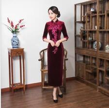 purple chinese women's embroidery Evening velvet Dress Ball long Cheongsam S-3XL
