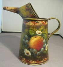 "Robert Berger Signed 8"" Oil Can Fruit Design Toleware in Excellent Condition"
