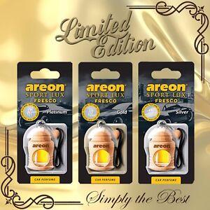 3x Areon Fresco LIMITED EDITION Car Perfume Air Freshener PLATINUM+GOLD+SILVER