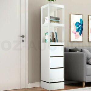 360-Degree Swivel Bookcase Cabinet Shelves Full length Mirror Storage Drawer WH