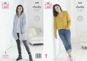 King Cole Ladies Chunky Knitting Pattern Short or Long Length Cardigan 5690