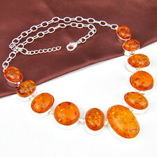 Woman Jewlery Awesome Oval Shaped Baltic Golden Amber Gemstone Silver Necklace