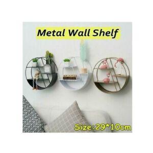 Round Metal Wall Shelf Rack Storage Home Decor Craft Wall Shelf Industrial New B
