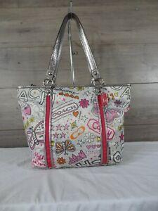 Coach F15712 Poppy Bandana Graffiti Tote Handbag Purse Shoulder Bag