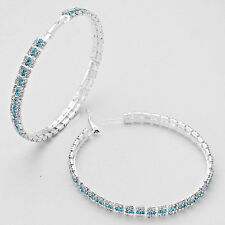 "Jumbo 3"" Silver and Aqua Rhinestone Hoops"