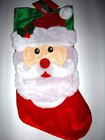 "NWT SANTA CLAUS Felt Christmas Holiday Stocking Fuzzy Top Decoration New 16"""