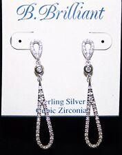 B Brilliant Sterling Silver CZ Teardrop Earrings NWT $160