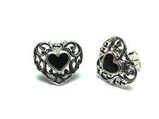 New Ladies Sterling Silver Heart Onyx Filigree Studs Earrings 13mm 925Hallmarked