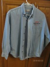 Vintage Chevrolet Racing Long Sleeve Chambray Shirt Size M - by Global Sports