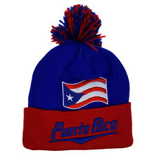 Puerto Rico Flag Designed Embroidered Royal Blue/Red Pom Cuffed Beanie Skull Cap