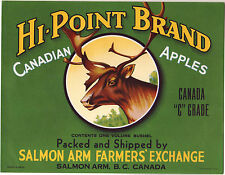 *Original* HI-POINT Salmon Arm Canada DEER ELK Apple Crate Label NOT A COPY