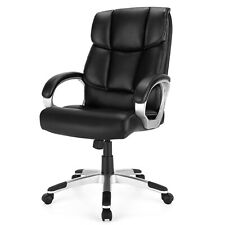 Costway Executive High Back Big Amp Tall Leather Adjustable Computer Chair Black