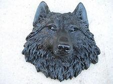 Black Wolves Head WALL MOUNT DECORATION LODGE CABIN LOG