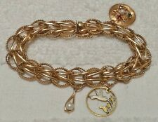 14K YELLOW GOLD CHARM BRACELET 7 7/8 INCHES