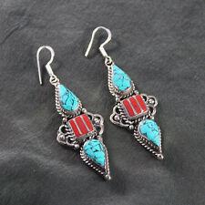 Unique Tibetan Turquoise & Red Coral Amazing Earring NE-7154