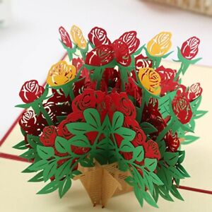 3D Pop Up Rose Flower Paper Greeting Card For Valentine's Day Romantic~
