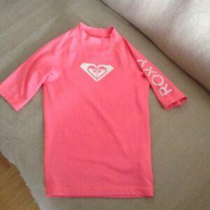 Roxy Girls Whole Hearted Short Sleeve UV Swim Top - Size 8