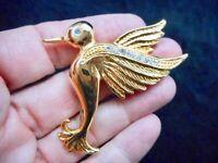 Authentic Vintage Gold Tone & Rhinestone Hummingbird Brooch/Pin